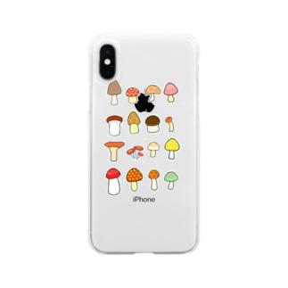 きのこきのこきのこ スマホケース Soft Clear Smartphone Case