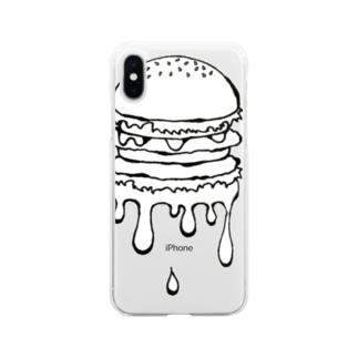 高温注意報発令! ハンバーガー Soft clear smartphone cases