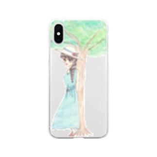 木陰で休む少女 Soft clear smartphone cases
