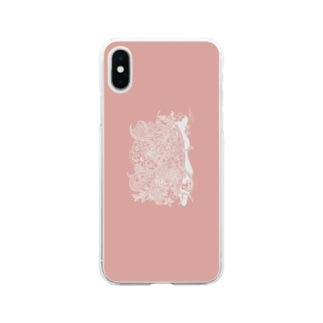 シロはな_ピンク Soft clear smartphone cases