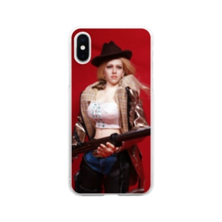 ドール写真:ライフル銃を持つブロンドの狩人 Doll picture: Blonde hunter with type38 rifle gun Soft clear smartphone cases