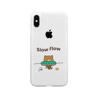 流れに身をゆだねるクマ Soft clear smartphone cases