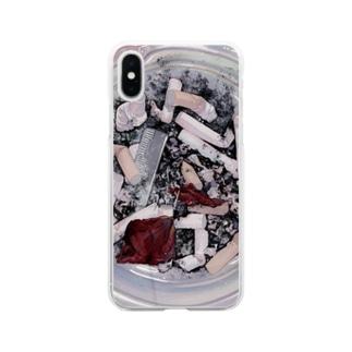 灰皿くん Soft clear smartphone cases