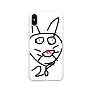 元気なネコ Soft clear smartphone cases