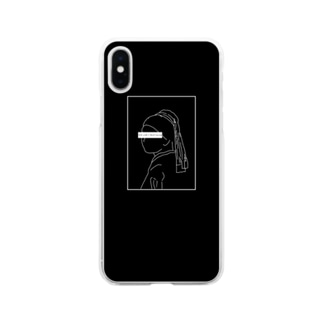 Girl with pearl earrings 💍 ver.black Soft clear smartphone cases