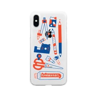 TAROPIの赤青ねこ文具 Soft clear smartphone cases