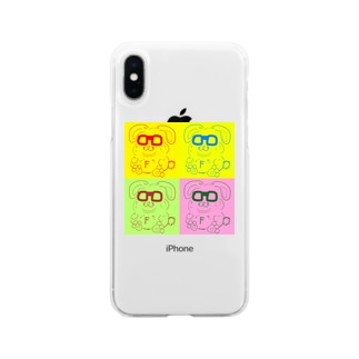 Yoshitaka Fukkoshiのメガネデブウサギ Soft clear smartphone cases