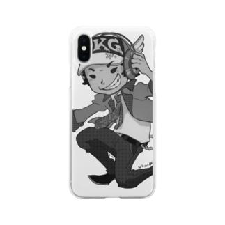 でき心。アイコンキャラクターモノクロ Soft clear smartphone cases