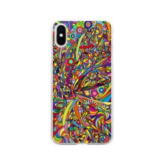 斎藤実喜 Miki SaitoのRainbow explosion Soft clear smartphone cases