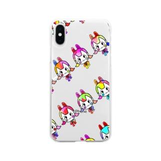 うさぎちゃん(ビビッド) Soft clear smartphone cases