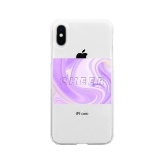 パープル マーブル チア Soft clear smartphone cases