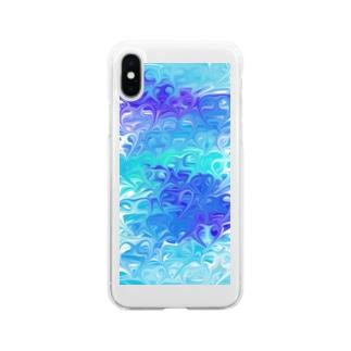 ブルーのハート Soft clear smartphone cases