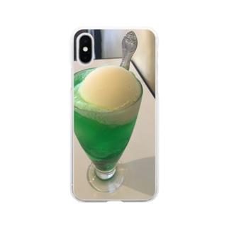 虹にまつわるの昔懐かしクリームソーダ Soft clear smartphone cases