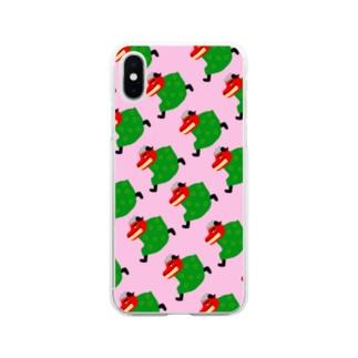 手描きのエトセトラの走る獅子舞(桃) Soft clear smartphone cases
