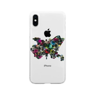 カラフル蝶々(背景透過) Soft clear smartphone cases