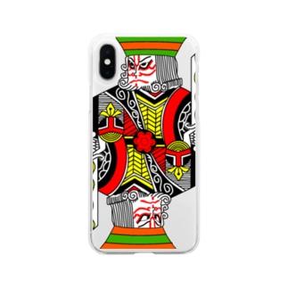 中2男子の歌舞伎メイク Soft clear smartphone cases