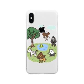 ヘタかわアニマル Soft clear smartphone cases