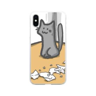 任務完了にゃんこ Soft clear smartphone cases