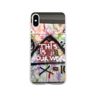 イスタンブールの落書き3 Soft clear smartphone cases