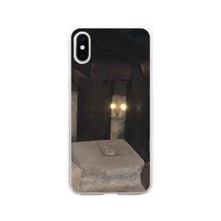 警戒のらねこ Soft clear smartphone cases