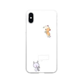 ウサ太郎とハム之介Appleをかじる Soft clear smartphone cases