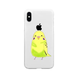 もふもふインコのけいちゃんのもふもふインコ けいちゃん Soft clear smartphone cases