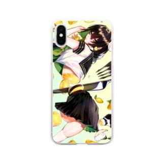 輪切りのフルーツガール🍋檸檬 Soft clear smartphone cases