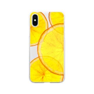ドライフルーツ風 オレンジ クリア スマホケース Soft clear smartphone cases