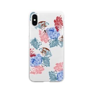 yuruholismの和風 和柄 模様 文様 花球 朱色 青海波文 Soft clear smartphone cases