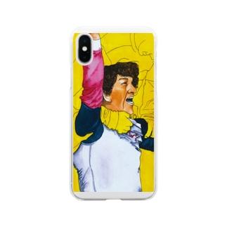 サッカー喜色イラスト 歓喜の水彩画 Soft clear smartphone cases
