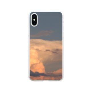 夏の夕日に照らされた積乱雲(雷雲) Soft clear smartphone cases