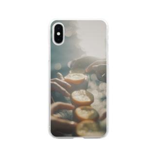 海とオレンジ Soft Clear Smartphone Case