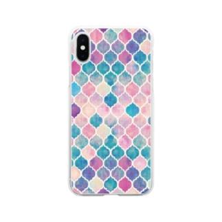 幾何学模様1 Soft clear smartphone cases