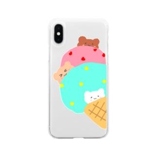 yukimalのアイスにかくれんぼ Soft clear smartphone cases