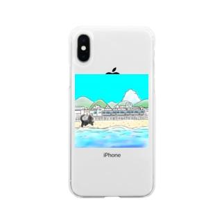 海辺の街とネコ Soft clear smartphone cases