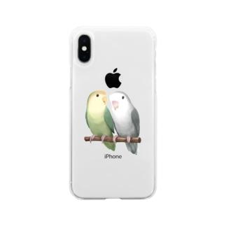 コザクラインコ モーブとオリーブ【まめるりはことり】 Soft clear smartphone cases