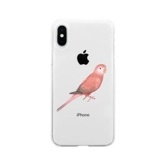 アキクサインコ ピンク【まめるりはことり】 Soft clear smartphone cases