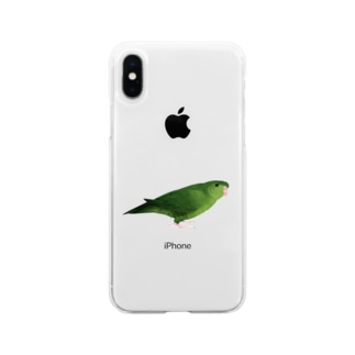 サザナミインコ グリーン【まめるりはことり】 Soft clear smartphone cases