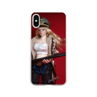 FUCHSGOLDの人形写真:ショットガンを持つブロンド美少女 Doll picture: Blonde gunfighter with a shotgun Soft clear smartphone cases