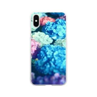 水と紫陽花 Soft clear smartphone cases