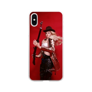 人形写真:ライフル銃を持つブロンドの狙撃手 Doll picture: Blonde sniper with type 38 rifle Soft clear smartphone cases