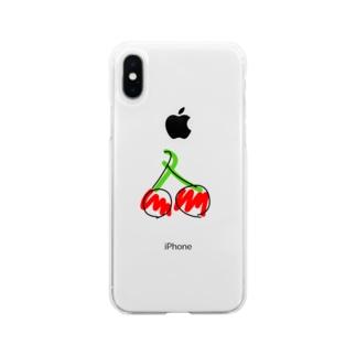 ラクガキさくらぼーんケース Soft clear smartphone cases