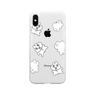 前歯🐰とプリケツ🧸(白バージョン) Soft clear smartphone cases