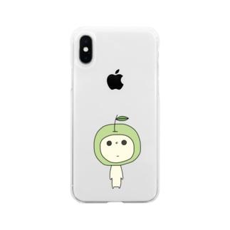 見つめてくるあおりんご Soft clear smartphone cases