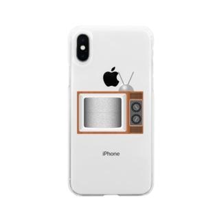 illust_designs_labのレトロでリアルなテレビのイラスト 砂嵐ノイズの画面 Soft clear smartphone cases