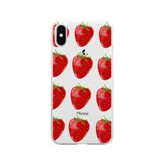 いちご Soft clear smartphone cases