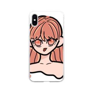 ロングヘアのあっかんべーちゃん(カラー) Soft clear smartphone cases