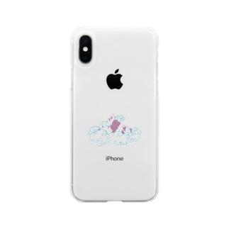 雲に浮かぶ山(カラーver) Soft clear smartphone cases