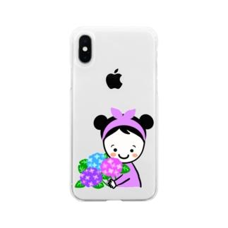 紫陽花スマイルちゃん Soft clear smartphone cases