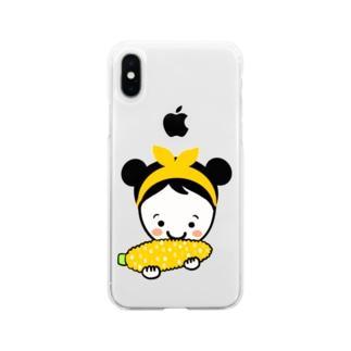 もろこしスマイルちゃん Soft clear smartphone cases
